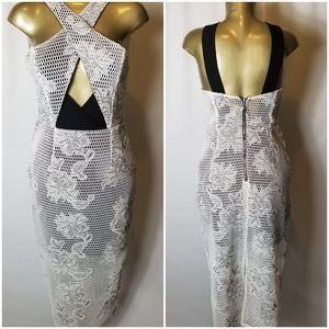 PREMONITION BLACK & WHITE NETTED DRESS